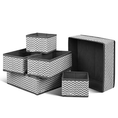 HOMFA Closet Drawer Organizer Foldable Fabric Cloth Storage Cubes Basket for Underwear, Bras, Socks, 6 Pack Stripe