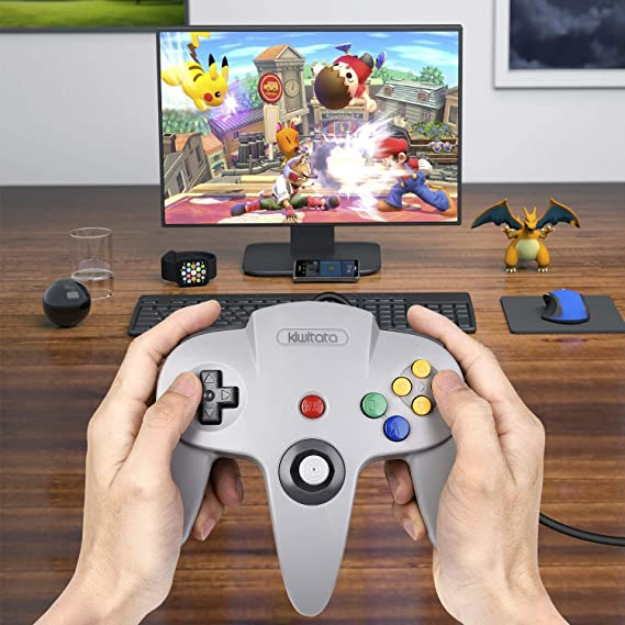 2 Pack Retro Classic N64 USB Controller, kiwitatá N64 Bit USB PC Wired Game  Pad Controllers Joystick for Windows PC and Mac Linux Retro Pie Gray