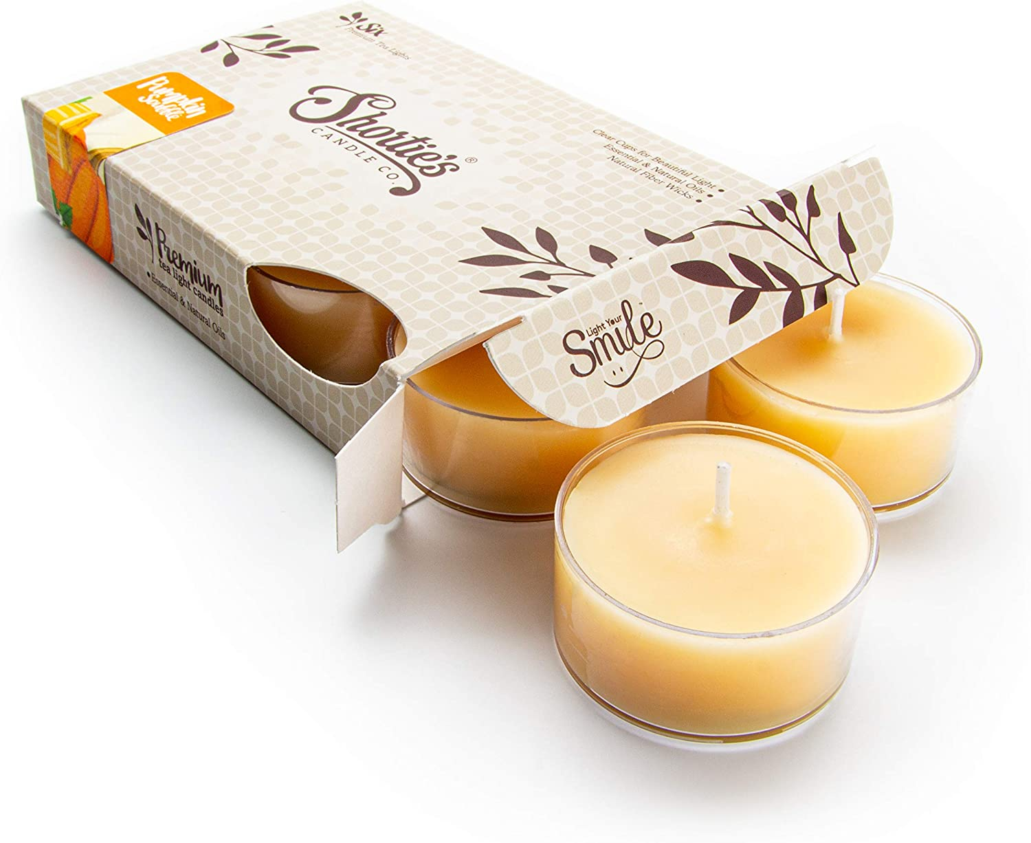 Pumpkin Souffle Tealight Candles - Highly Scented with Natural Oils - 6 Beige Hand Poured Tea Lights - Clear Container for Beautiful Candlelight - Bakery & Food Collection