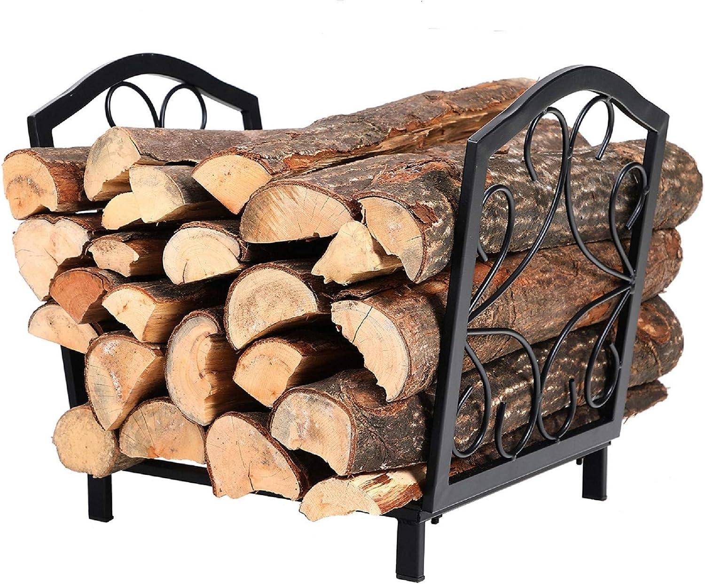 Phi Villa 17 Inch Small Decorative Indoor Outdoor Firewood Racks Steel Wood Storage Log Rack Holder Home Improvement
