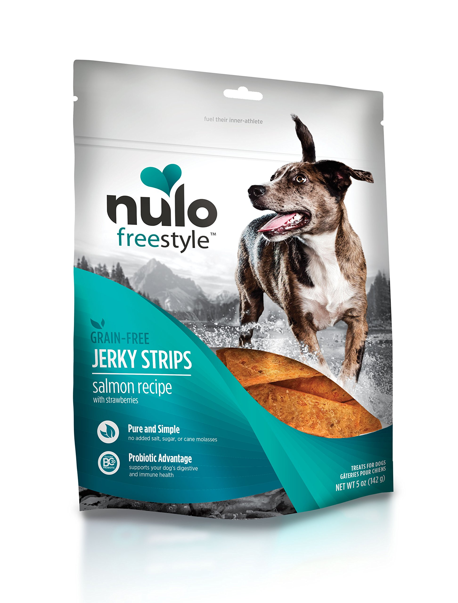Nulo Freestyle Jerky Dog Treats: Healthy Grain Free Dog Treat - Natural Dog Treats for Training or Reward - Real Meat Jerky Strips for Puppy and Adult Dogs - Salmon with Strawberries Recipe - 5 oz Bag by Nulo (Image #1)