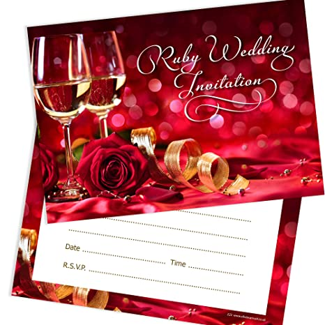Ruby Anniversary Invitations 40th Wedding Anniversary Ready To Write Invitations With Envelopes Pack 10