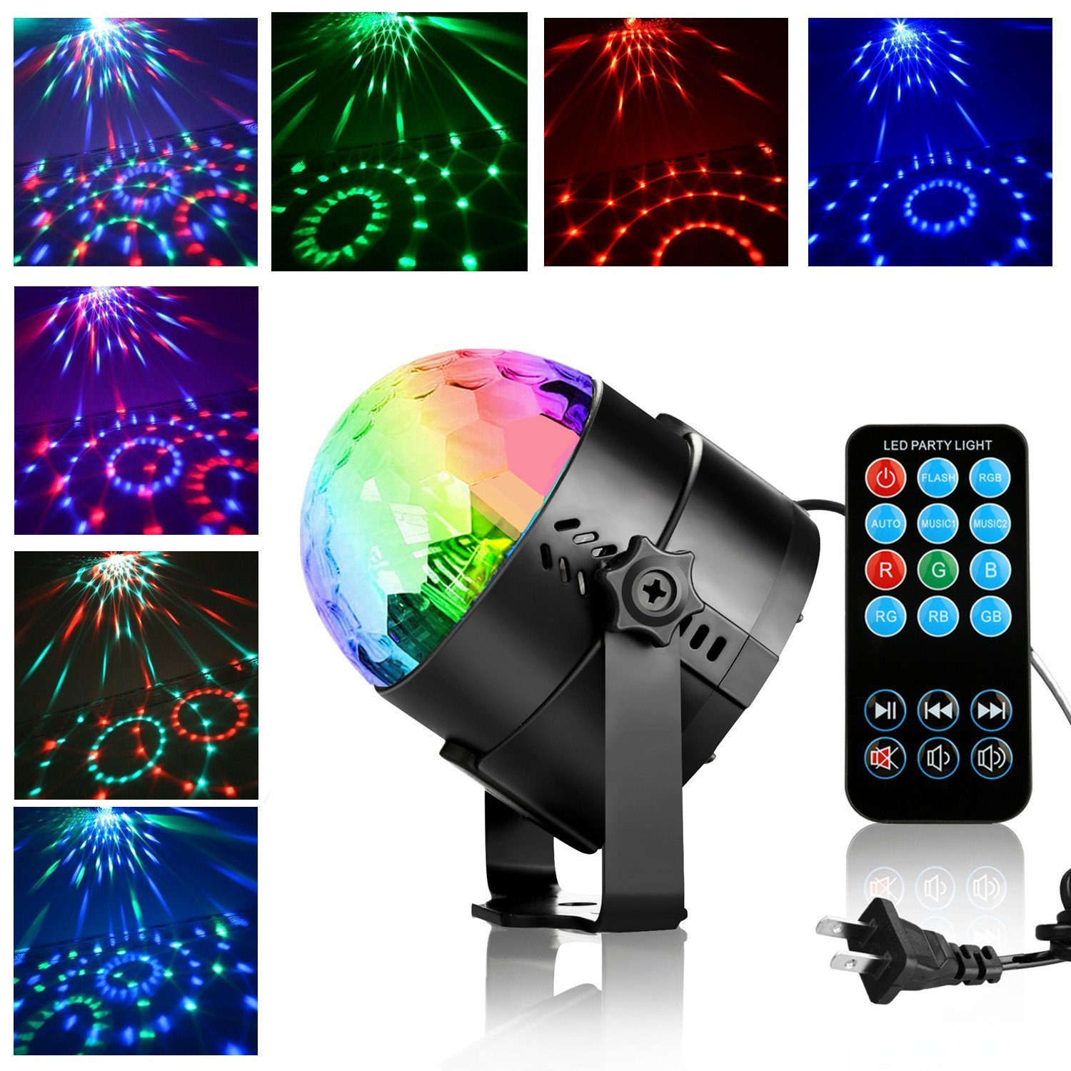 Disco Ball,Sound Activated Disco Lights,Led Party Lights with Remote Control Dj Lighting,SMAtech RBG Strobe Light,karaoke Light machine,Stage Par Lighting for Home Room Dance Parties Birthday DJ Bar