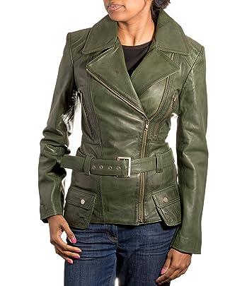 A to Z Leather Chaqueta para Mujer Verde de Piel de Cordero Largo del Motorista. Cremallera Lateral. Estilo Retro.: Amazon.es: Ropa y accesorios
