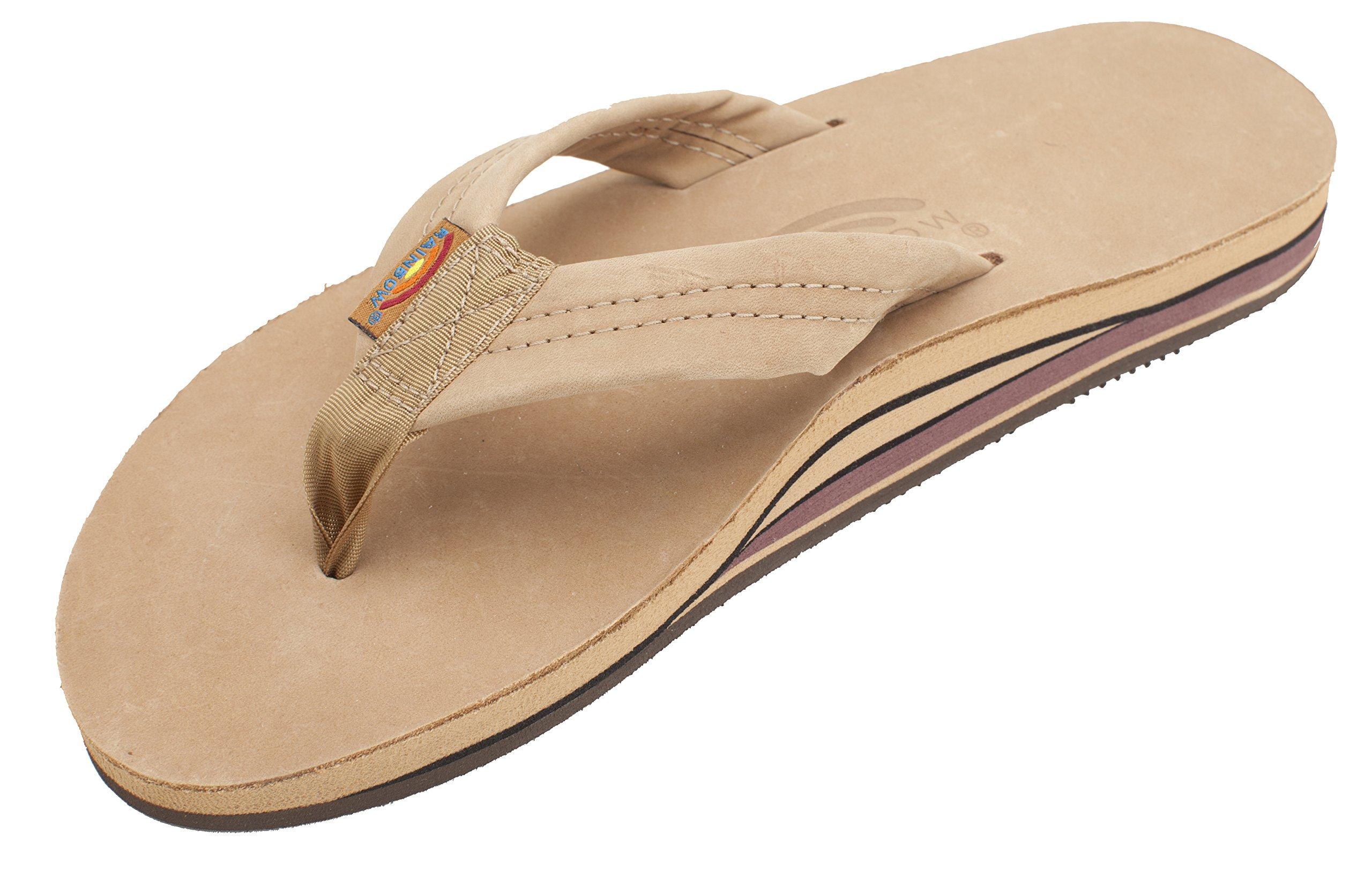 Rainbow Sandals Men Premium Leather Double Layer, Sierra Brown, X-Large (11-12)