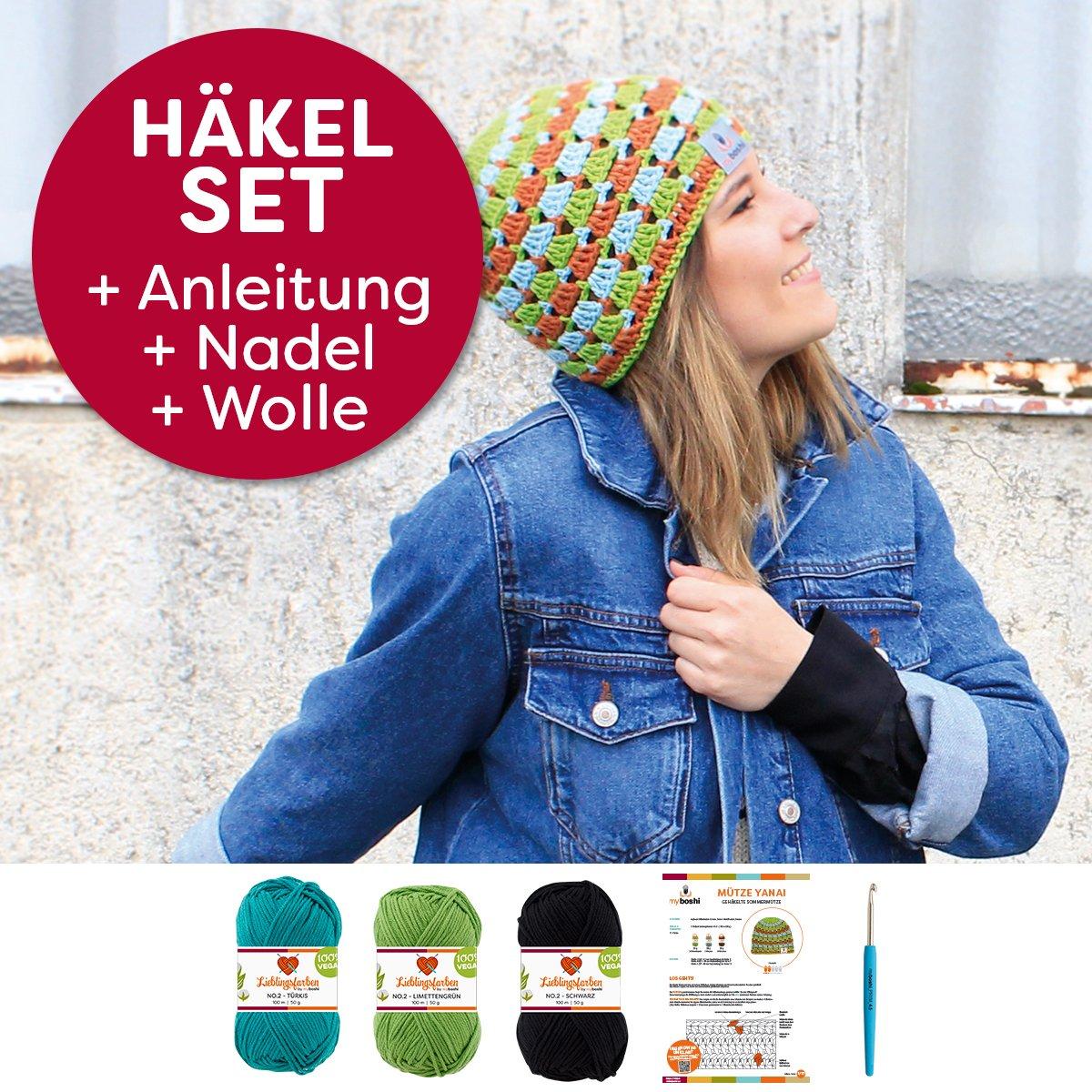 150g Baum-Wolle Lieblingsfarben No.2 Label H/äkelnadel Schwarz, Elfenbein, Titangrau myboshi M/ützen H/äkel-Set Yanai Sommer-M/ütze H/äkelmuster
