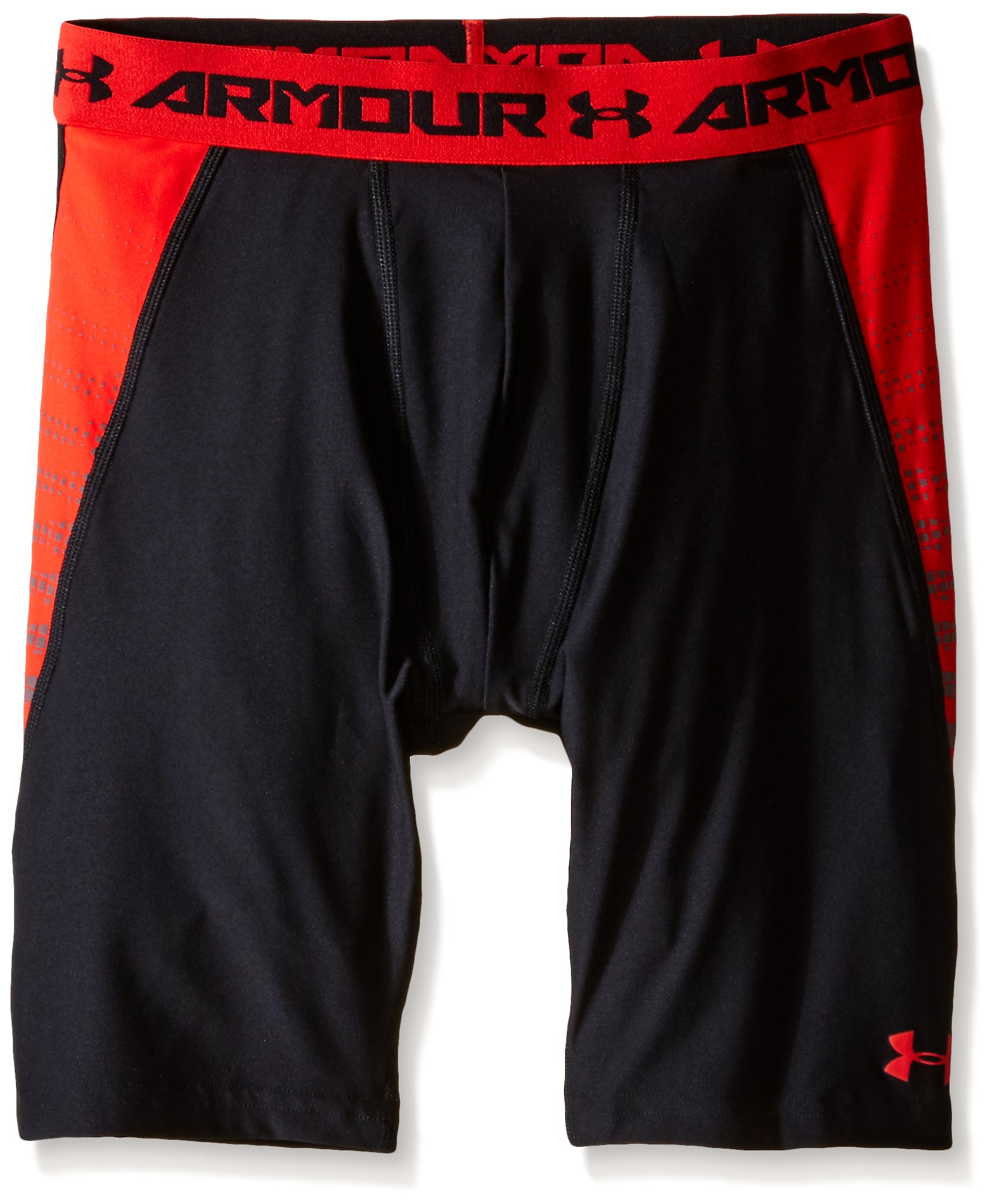 Under Armour Boys' HeatGear Armour Up Fitted Shorts – Long, Black (001)/Risk Red, Youth X-Small