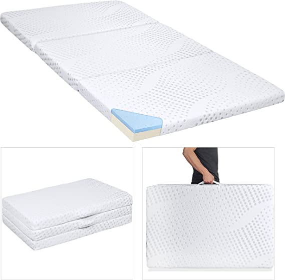 Best Choice Products Portable 3in Twin Size Tri-Folding Memory Foam Gel Mattress Topper w/Removable Cover