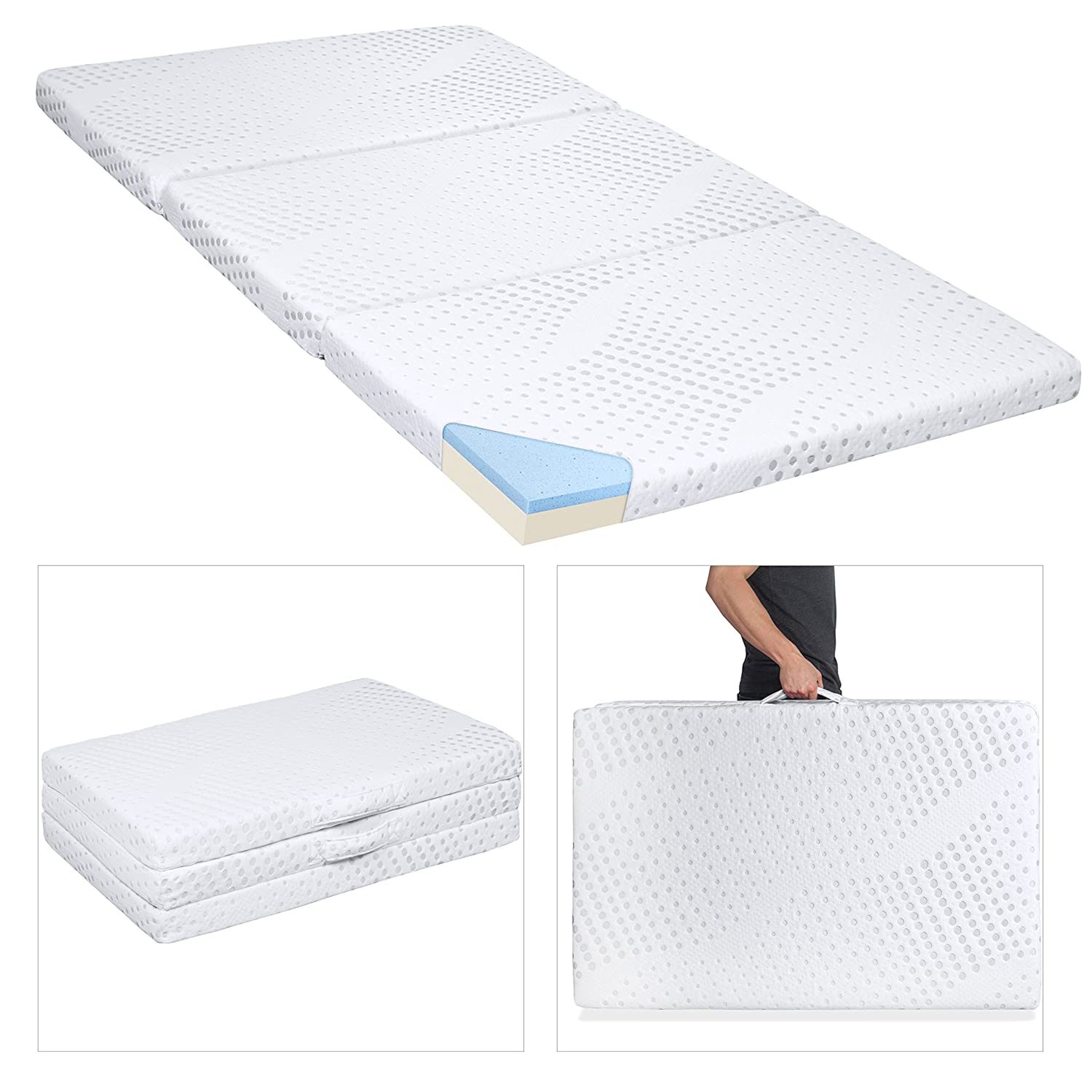 folding foam mattress. Amazon.com: Best Choice Products Portable 3in Full Size Tri-Folding Memory  Foam Gel Mattress Topper W/Removable Cover: Home \u0026 Kitchen Folding Foam Mattress I