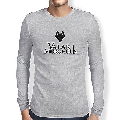 Texlab Got: Valar Morghulis - Herren Langarm T-Shirt, Größe S, Grau