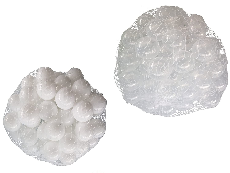 10000 Bälle für Bällebad gemischt mix mit transparent und weiß mybällebad