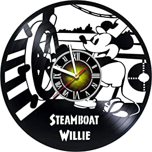 Toffy Workshop Walt Disney Steamboat Willie Design Vinyl Wall Clock - handmade gift for any occasion - unique birthday, wedding, anniversary, Valentine's day gifts - Wall décor Ideas for any space