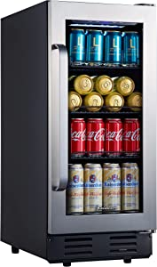 Mini Fridge, Kalamera 15 inch Beverage Cooler Refrigerator With Seamless Stainless Steel Door Built-in or Freestanding - 96 Cans Capacity - for Soda, Water, Beer or Wine - For Kitchen or Bar with White Interior Light