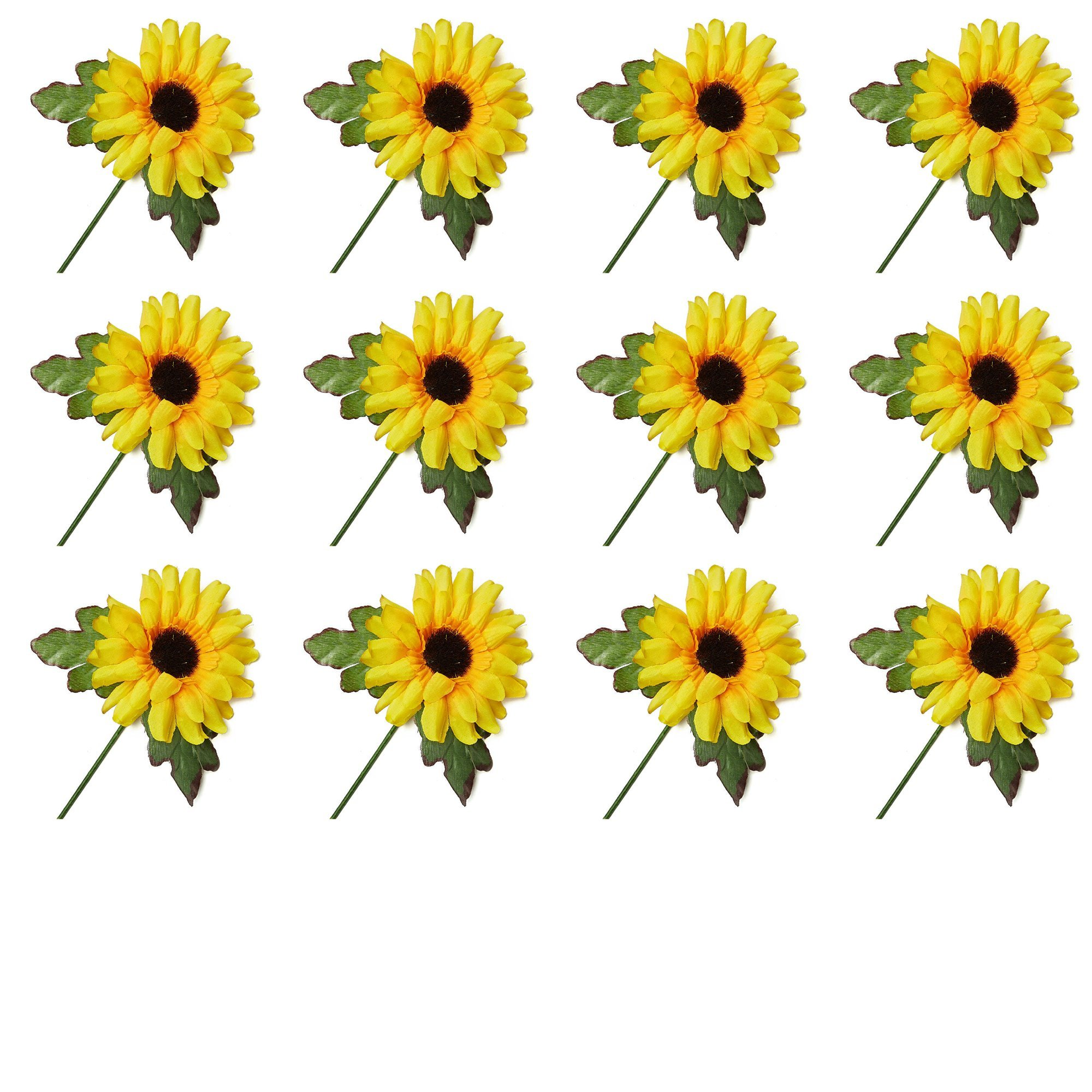 Factory Direct Craft Artificial Sunflower Floral Picks With Fuzzy Brown Centers (12 pack)