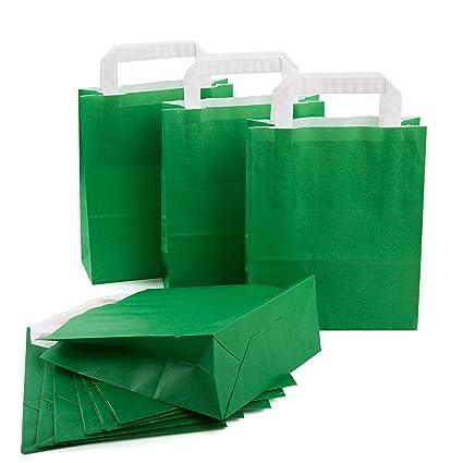 100 pieza Pequeños Verde Oscuro Verde Bolsa de papel ...
