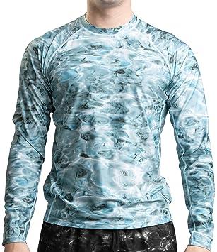 c418bb314 Aqua Design Men Loose Fit Long Sleeve UPF Athletic Swim Surf Sun Protection  Rash Guard Top T-Shirt