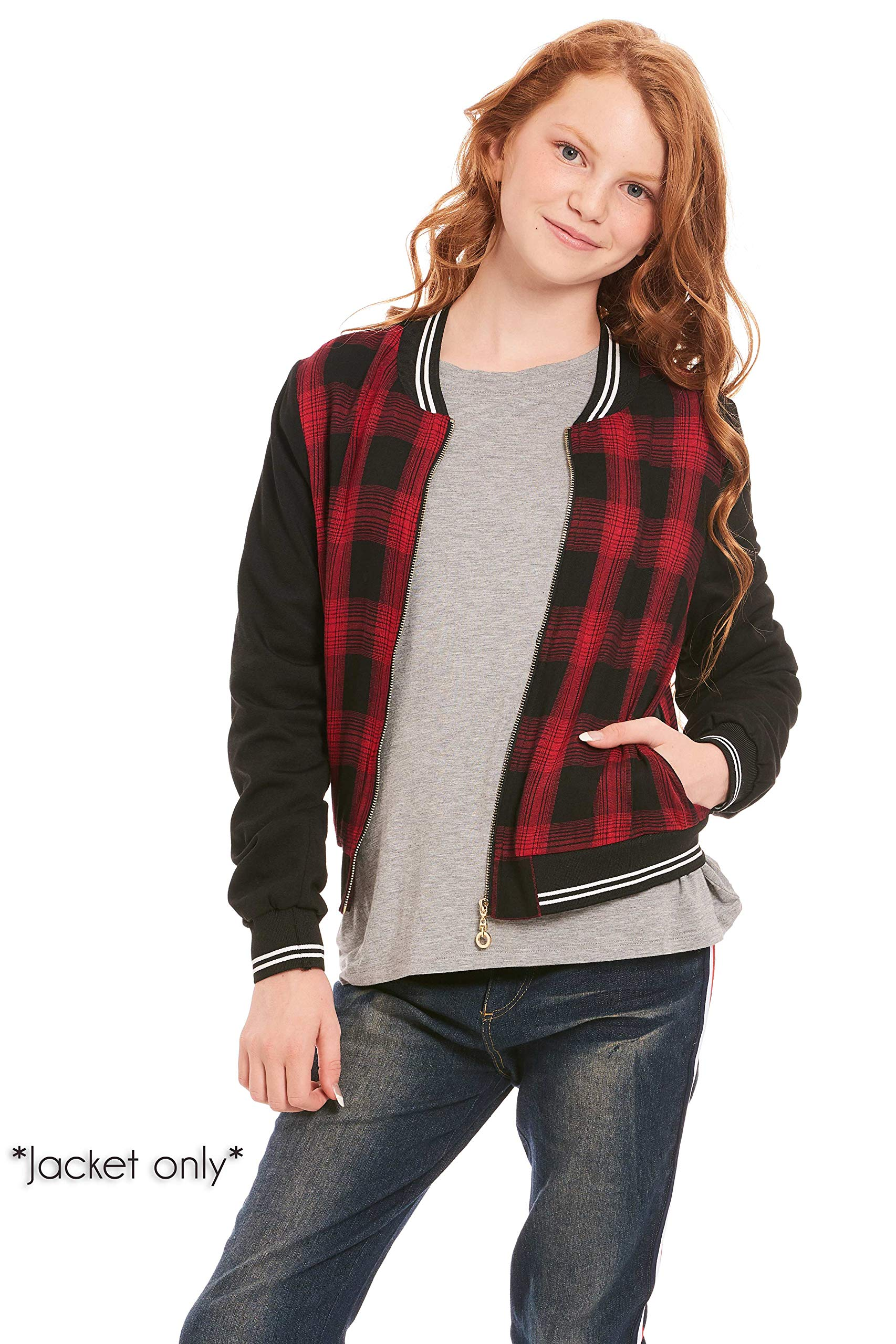 Truly Me, Big Girls Outerwear Jackets, Cardigans, Sweaters (Many Options), 7-16 (8, Red Black Multi)
