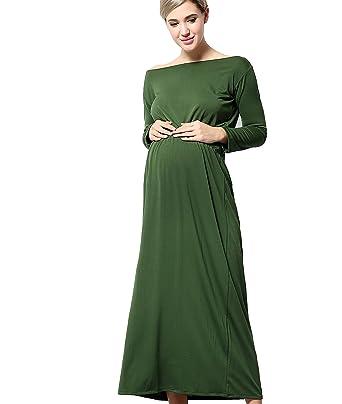 YAN Womenu0027s Long Sleeve Maternity Maxi Dress For Pregnancy Baby Shower