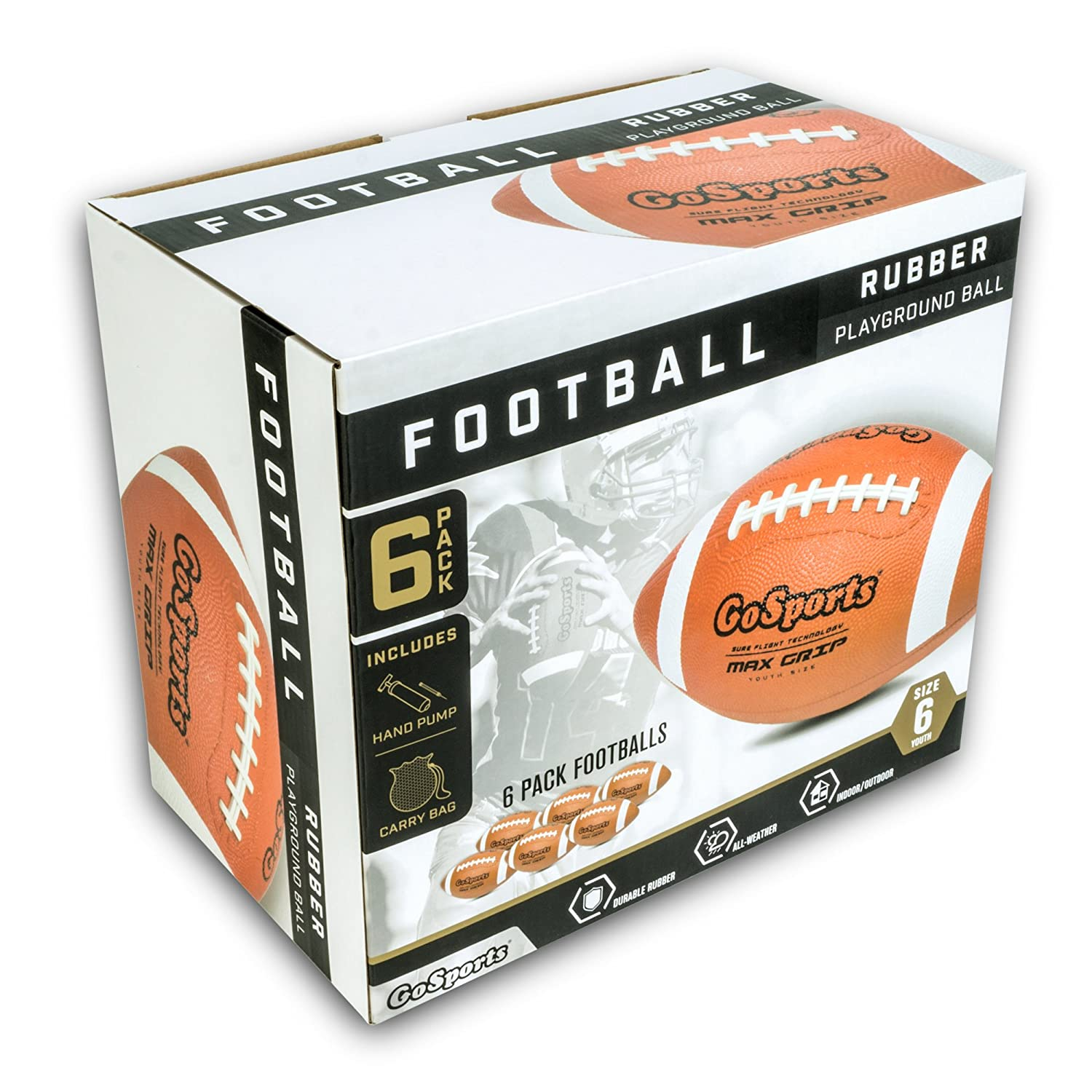 6 Pack of Youth Size Balls with Pump /& Carrying Bag GoSports Rubber Footballs
