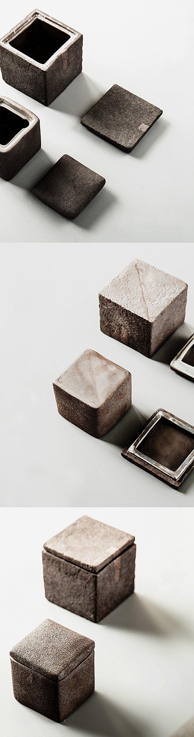Handmade Chinese Kung fu Tea Volcanic mud tea canister (Square Angle 255ml)