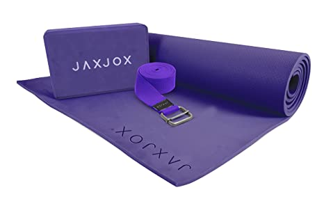 Amazon jaxjox yoga beginners set includes eva yoga mat jaxjox yoga beginners set includes eva yoga mat yoga block and strap belt reheart Choice Image
