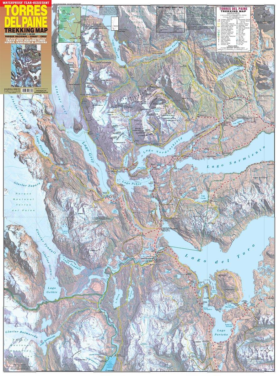 Torres Del Paine Waterproof Trekking Map English Spanish