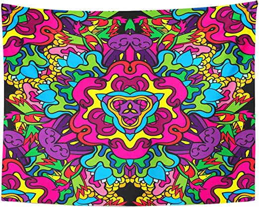 Berrykey Tapestry Green Trippy 60s Hippie Psychedelic Cat Parrot Home Decor Wall Hanging for Living Room Bedroom Dormisette 60 x 80 Inches: Amazon.es: Juguetes y juegos