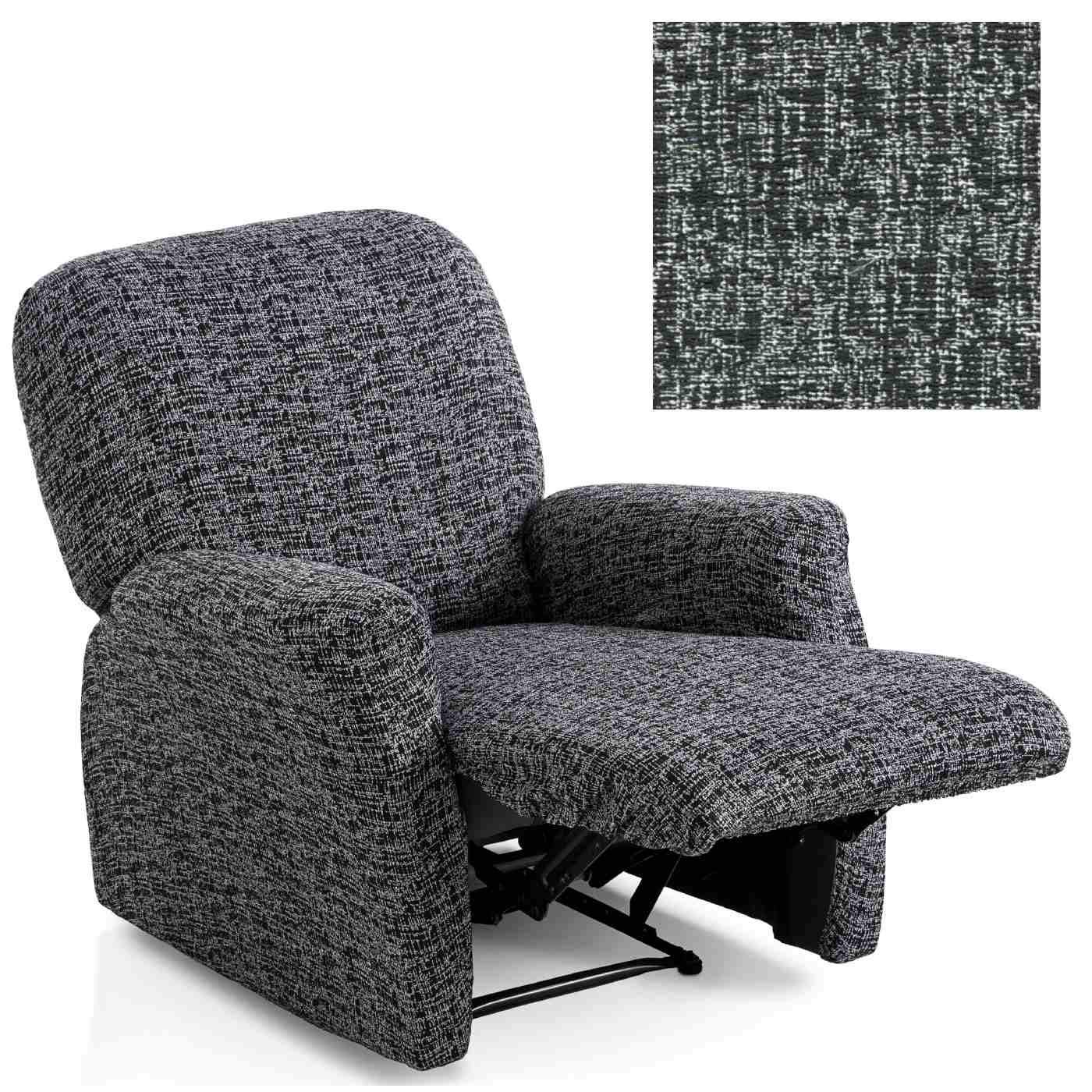 Jarrous Funda de Sillón Relax Completo Elástica Modelo Gozo, Color Negro-11, Medida 60-80cm Respaldo