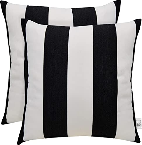 Sunbrella Set of 2 Cabana Classic Black and White Stripe – in Outdoor Square Throw Toss Pillows 24 x 24
