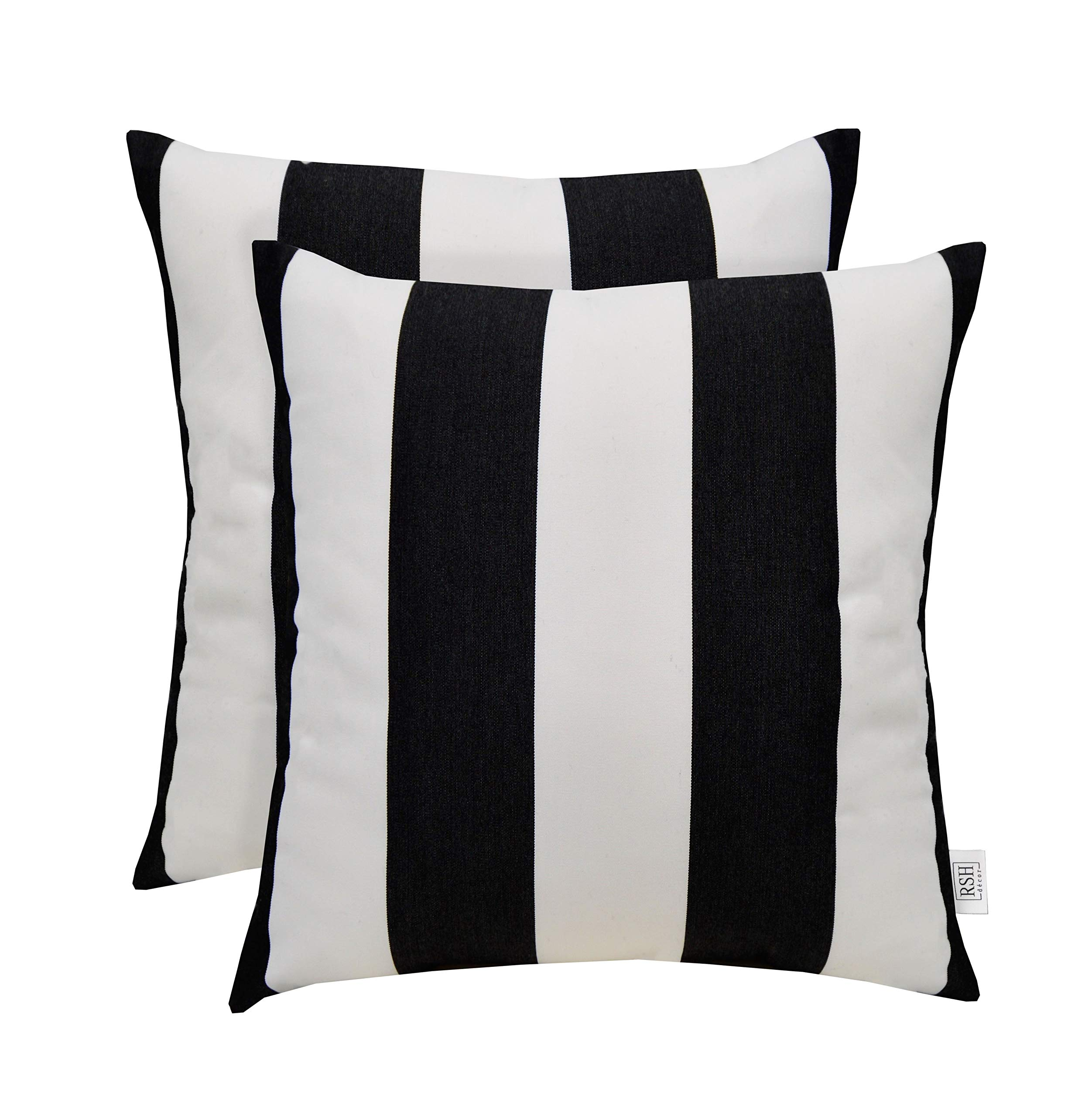 Sunbrella Set of 2 Black and White Stripe - In/Outdoor Square Throw/Toss Pillows (24'' x 24'')