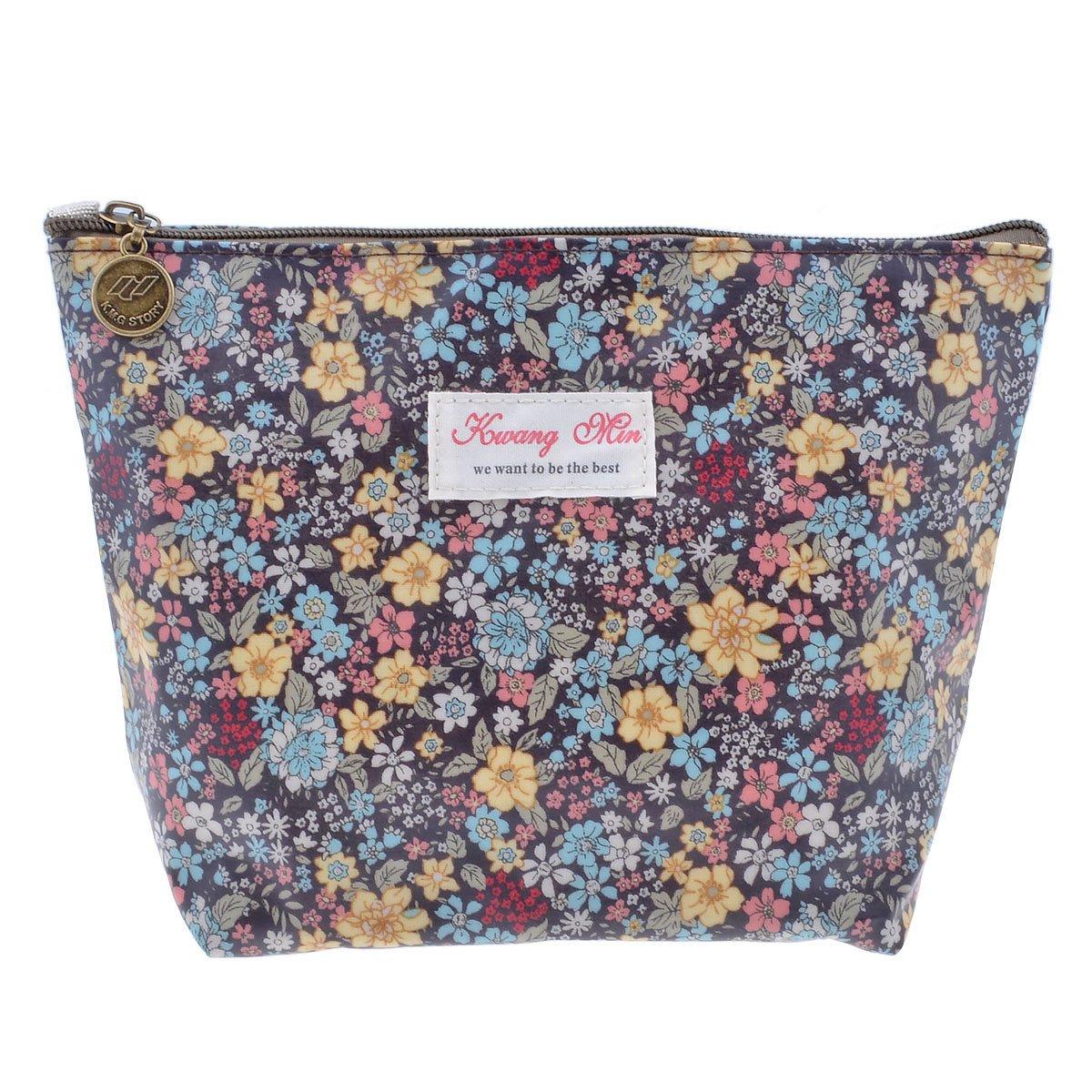 Parateck Floral Print Zipper Cosmetic Makeup Case Pouch Travel Bag Tote, Large (Black)