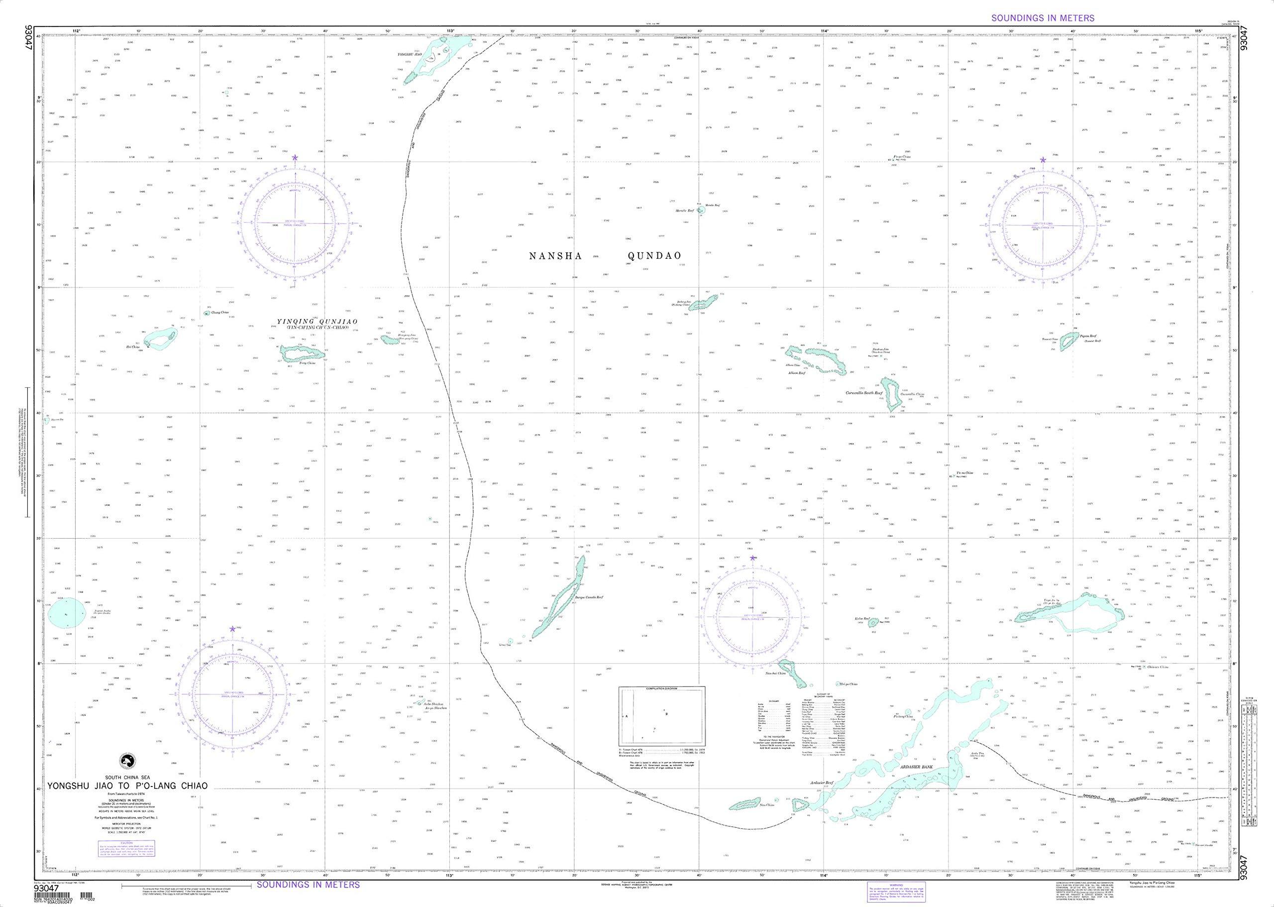 NGA Chart 93047 Yongshu Jiao to Po-Lang Chiao 59'' x 42'' Paper Chart