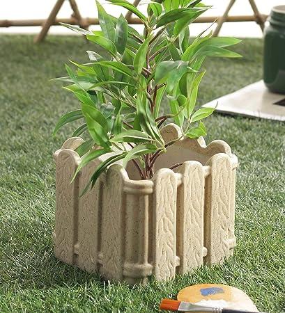Ceramic Planter Pot Plant Container Decorative Brown Fence