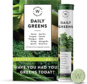 Wellbeing Nutrition Daily Greens, Wholefood Multivitamin with Vitamin C, Zinc, B6, B12 for Immunity and Detox with 39+ Organic Certified Plant Superfoods & Antioxidants(15 Effervescent Tab) Pack of 6
