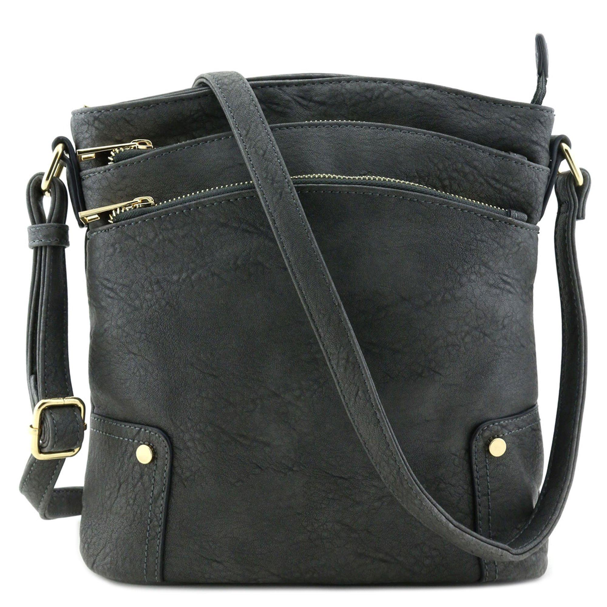Triple Zip Pocket Large Crossbody Bag Dark Gray