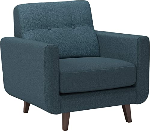 Top Space Accent Chair Living Room Chairs Arm Chair Single Sofa Upholstered Comfy Fabric Mid-Century Modern Furniture for Bedroom Office 2PCS-1, Blue