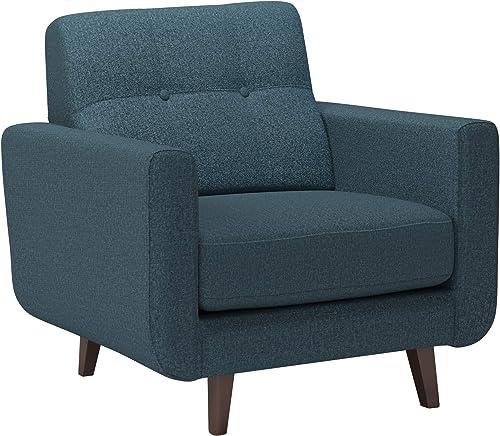 Amazon Brand Rivet Sloane Mid-Century Modern Armchair with Tapered Legs, 32.7 W, Denim