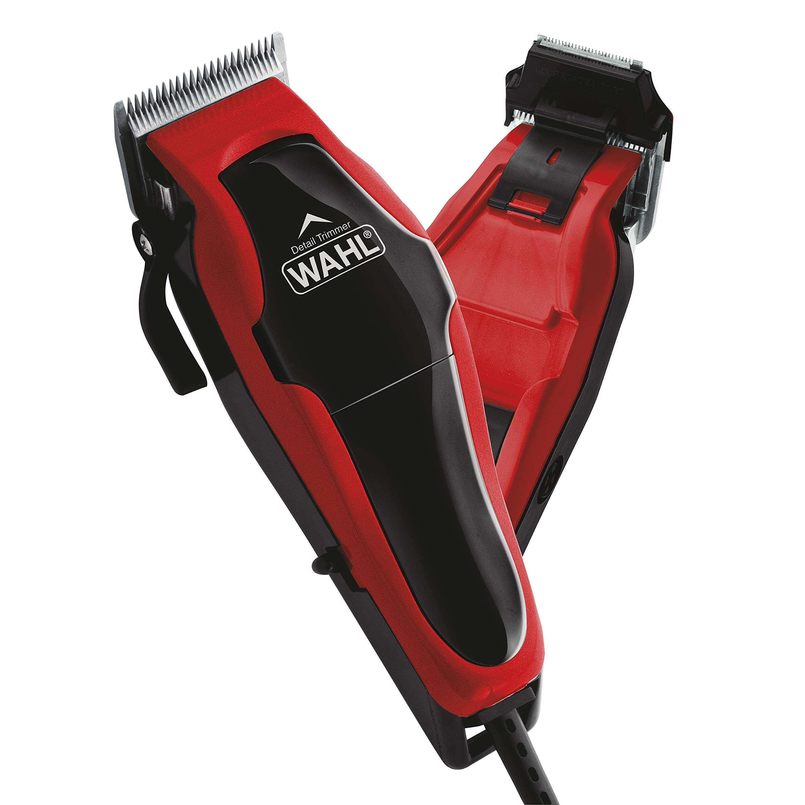 Wahl Clipper Clip 'n Trim 2 In 1 Hair Cutting Clipper/Trimmer Kit with Self Sharpening Blades, Red