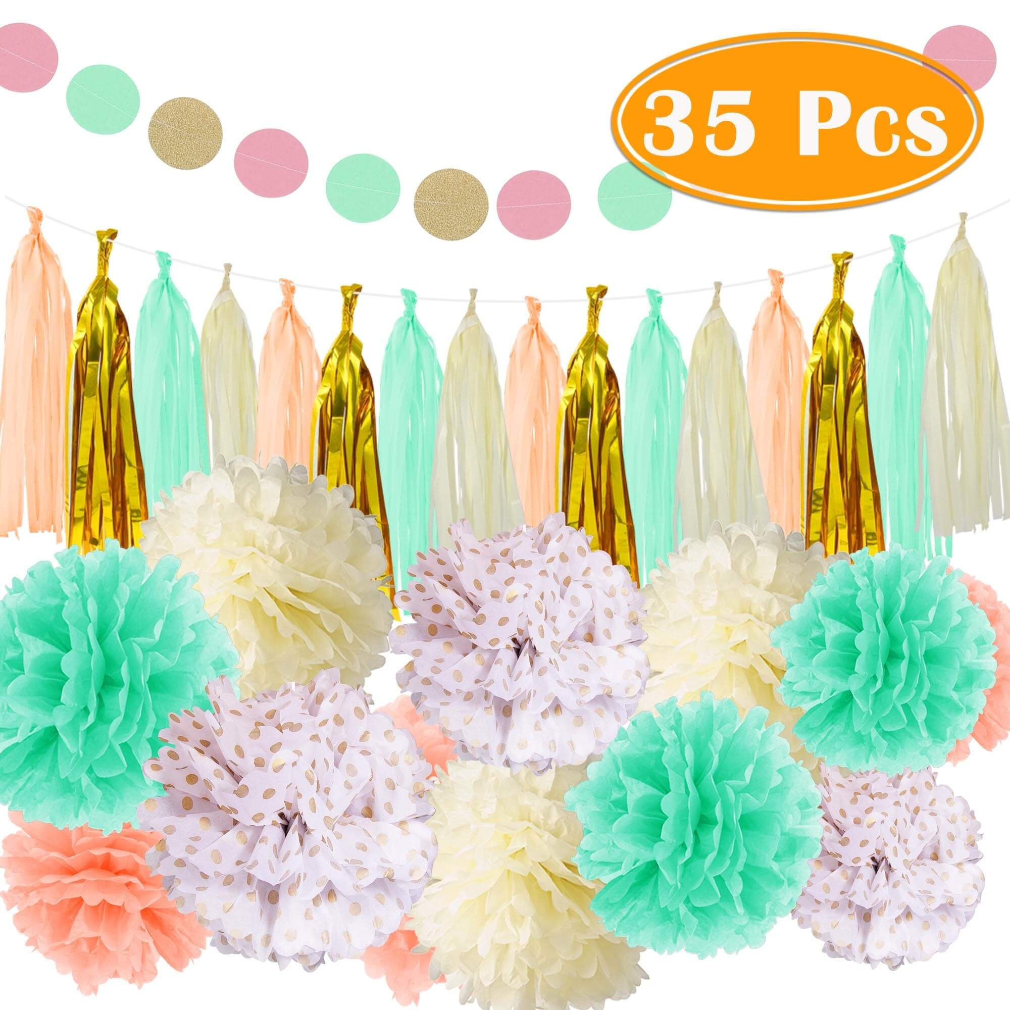 PAXCOO 35 Pcs Mint Gold Tissue Paper Pom Poms Tassel Garland for Baby Shower Party Decorations by PAXCOO