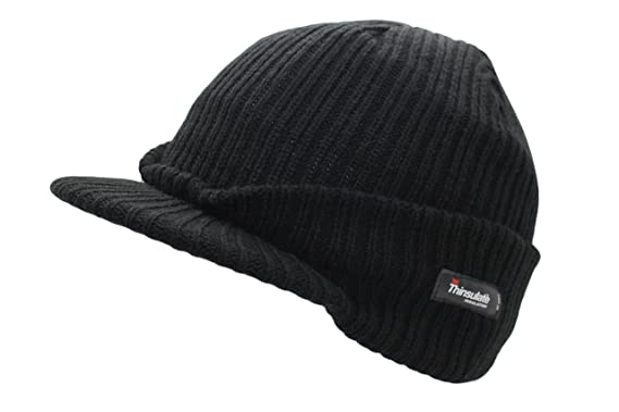 UNISEX All Black Beanie Hat With Peak  Amazon.co.uk  Clothing 83f2bd3aa37b