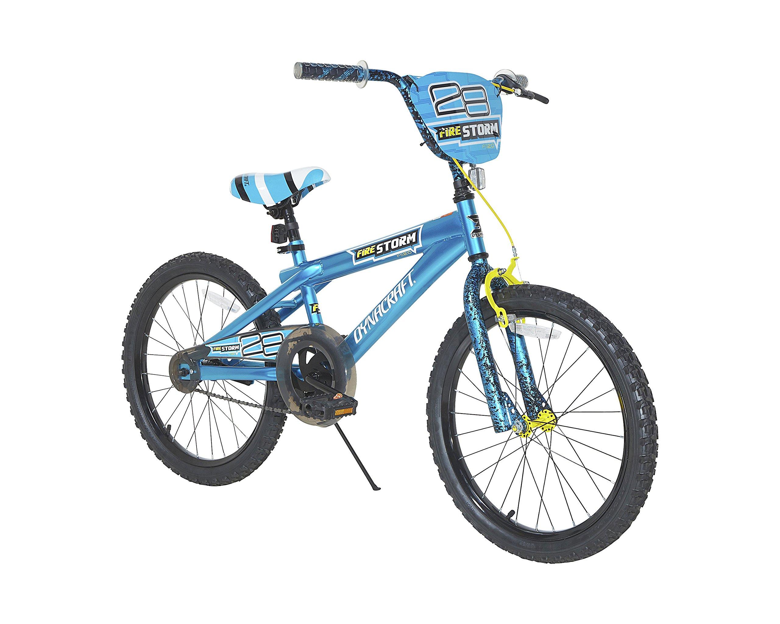 Dynacraft Firestorm Boys BMX Street/Dirt Bike with Hand Brake 20'', Blue/Black/Yellow