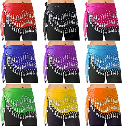 248 coins with mix color rhinestones Hip Scarf Belt Chain Belly Dance Costumes
