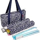 New! - American Mahjong Set by Linda Li8482; - 166 Premium White Tiles, 4 All-in-One Rack/Pushers, Blue Paisley Soft Bag – Cl