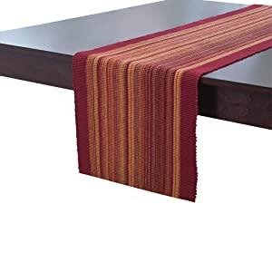 """Elrene Home Fashions Cotton Table Runner Casual Classic Stripe, 13"""" x 72"""", Red"""