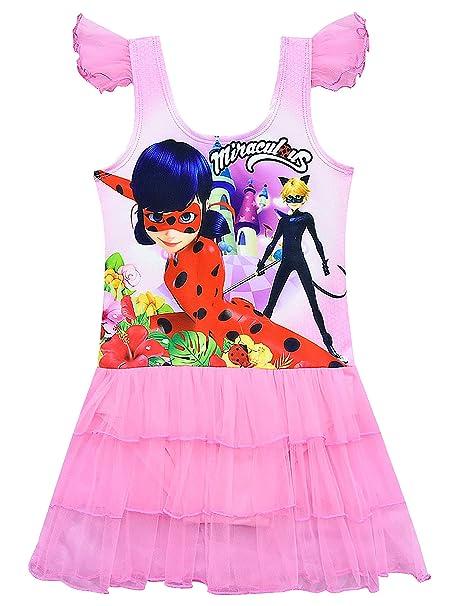 DJSJ- Niña Traje de baño Baño Miraculous Ladybug Ruffle Swimwear ...