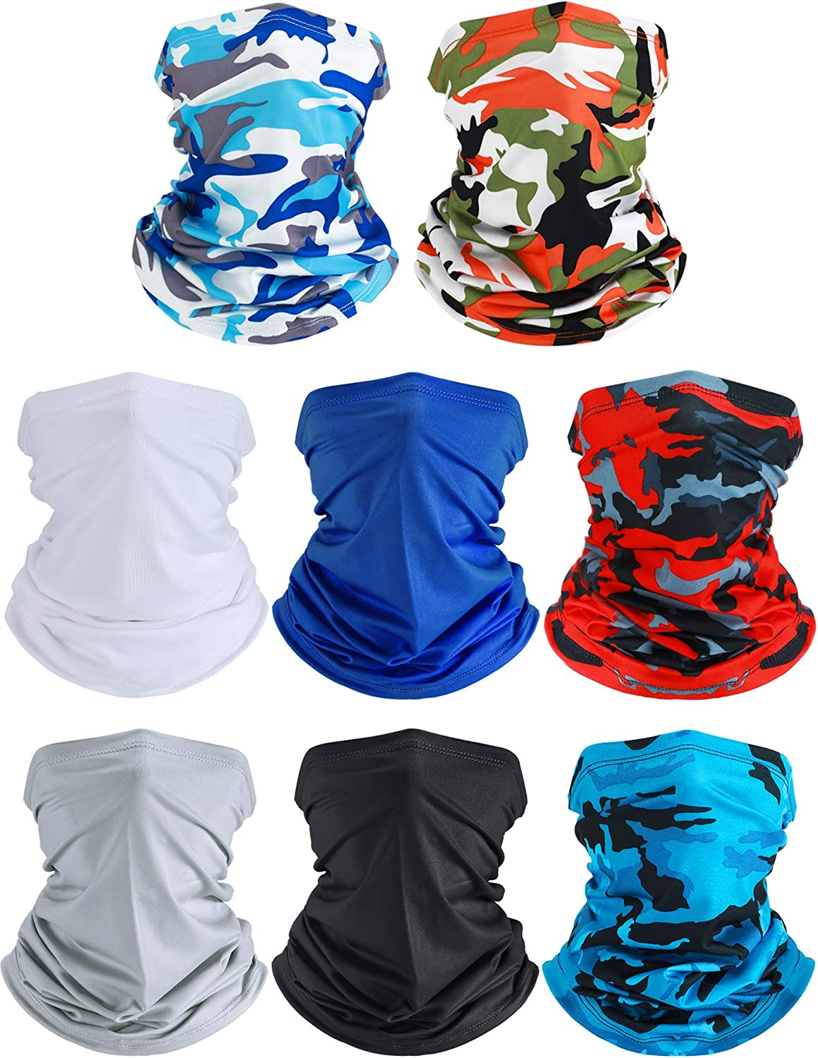 Summer UV Protection Neck Gaiter Scarf Balaclava Breathable Face Cover Scarf (Camouflage Colors and Solid Colors, 8)