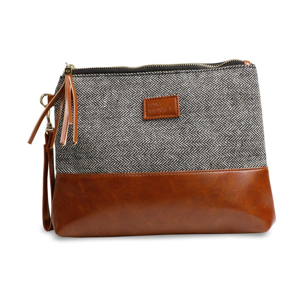 {Erika Collection} Wristlet Wallet Clutch Bag - Phone Purse Handbag - Small, Medium Large Size - Brown & Gray Horizontal Herringbone Style, Vegan Bottom Urban- Funky Monkey Fashion (Large)