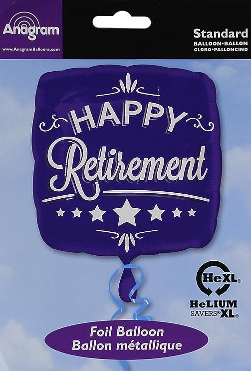 Anagram 28738 Happy Retirement Blue Square Foil Balloon 18,