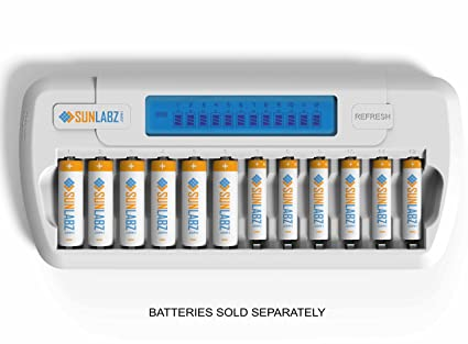 SunLabz Smart Rechargeable Battery Charger - AA AAA NiMH NiCD Batteries - 12 Bay/Slot