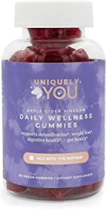 Uniquely You Organic Apple Cider Vinegar Gummie with The Mother, Beetroot, Cranberry, B12 & B9 Vitamins, Vegan, Gluten-Free Supplement(Single)